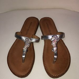 Leather, silver slippers with seahorses